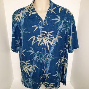 Tommy Bahama 100% Teal Blue Silk S/S Camp Shirt